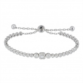 White Gold Illusion Set Diamond Line Bracelet